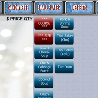 Digital Dining category screen and menu items