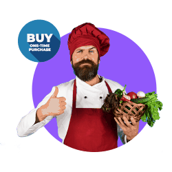 Guy in red chef apron and hat giving thumbs up and BUY One-Time Purchase offer