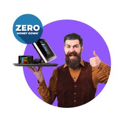 Guy in vest giving thumbs up with POS system on tray and ZERO Money Down offer