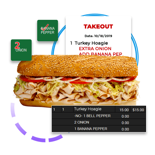 OrderCounter Hybrid Point of Sale Solutions hoagie with prep ticket and order screen