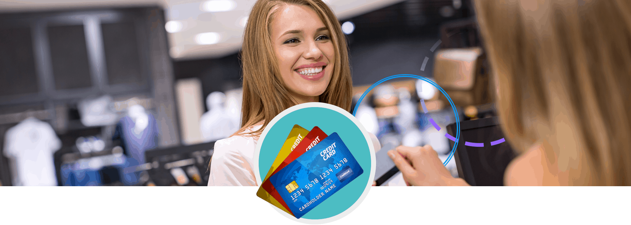Woman handing cashier credit card