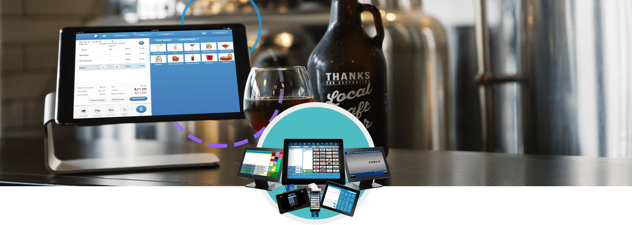 iPad on stand in brewery with POS hardware terminals