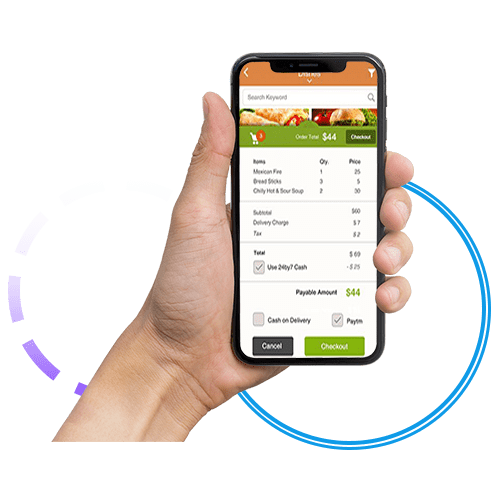 Online ordering on phone